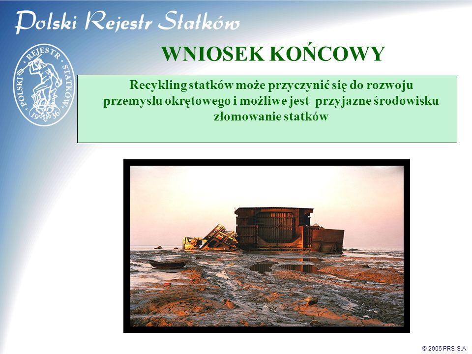 © 2005 PRS S.A. WNIOSEK KOŃCOWY Recykling statków może przyczynić się do rozwoju przemysłu okrętowego i możliwe jest przyjazne środowisku złomowanie s