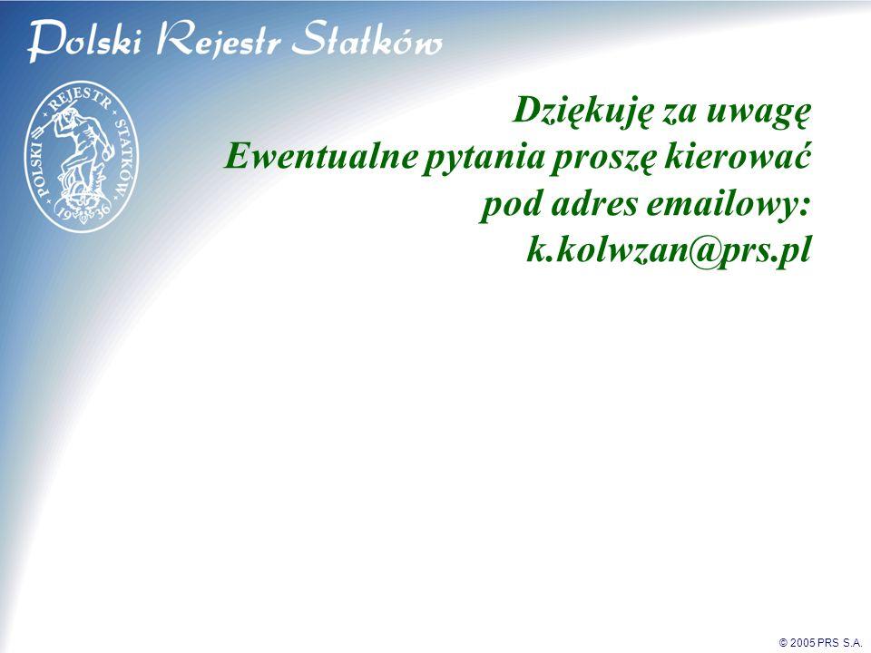 © 2005 PRS S.A. Dziękuję za uwagę Ewentualne pytania proszę kierować pod adres emailowy: k.kolwzan@prs.pl