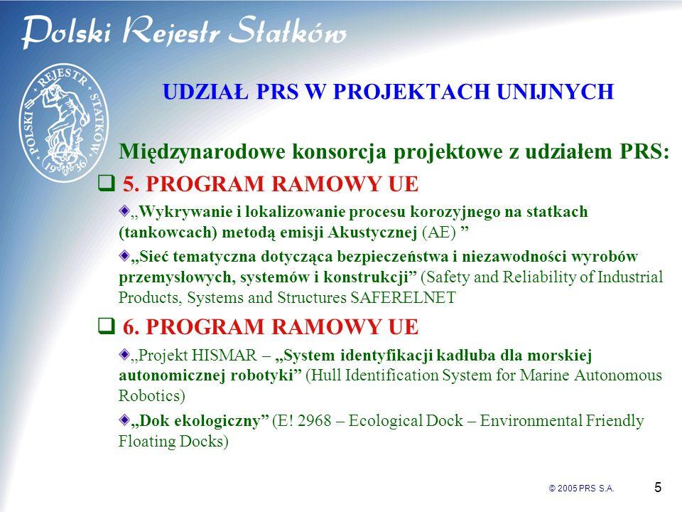 © 2005 PRS S.A. 5 UDZIAŁ PRS W PROJEKTACH UNIJNYCH Międzynarodowe konsorcja projektowe z udziałem PRS: 5. PROGRAM RAMOWY UE Wykrywanie i lokalizowanie