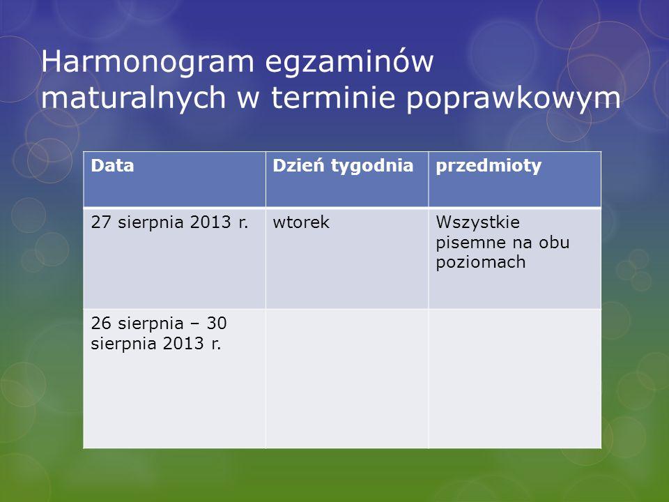 Harmonogram egzaminów maturalnych w terminie poprawkowym DataDzień tygodniaprzedmioty 27 sierpnia 2013 r.wtorekWszystkie pisemne na obu poziomach 26 sierpnia – 30 sierpnia 2013 r.