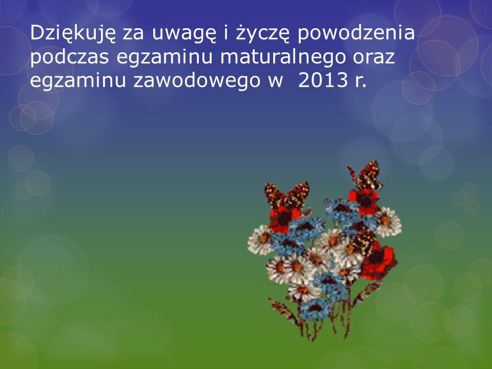 Dziękuję za uwagę i życzę powodzenia podczas egzaminu maturalnego oraz egzaminu zawodowego w 2013 r.