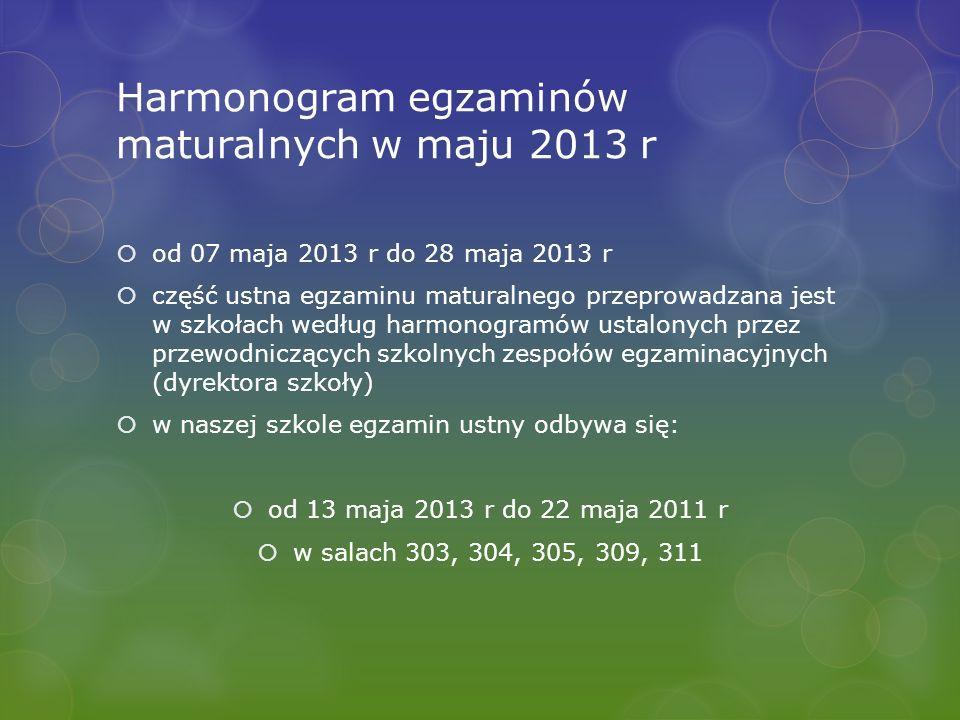 Harmonogram egzaminów maturalnych w maju 2013 r od 07 maja 2013 r do 28 maja 2013 r część ustna egzaminu maturalnego przeprowadzana jest w szkołach we