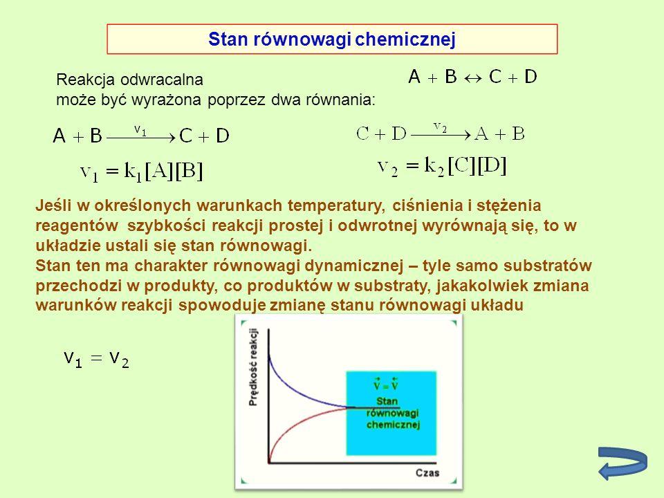 Reakcja odwracalna może być wyrażona poprzez dwa równania: Stan równowagi chemicznej Jeśli w określonych warunkach temperatury, ciśnienia i stężenia r