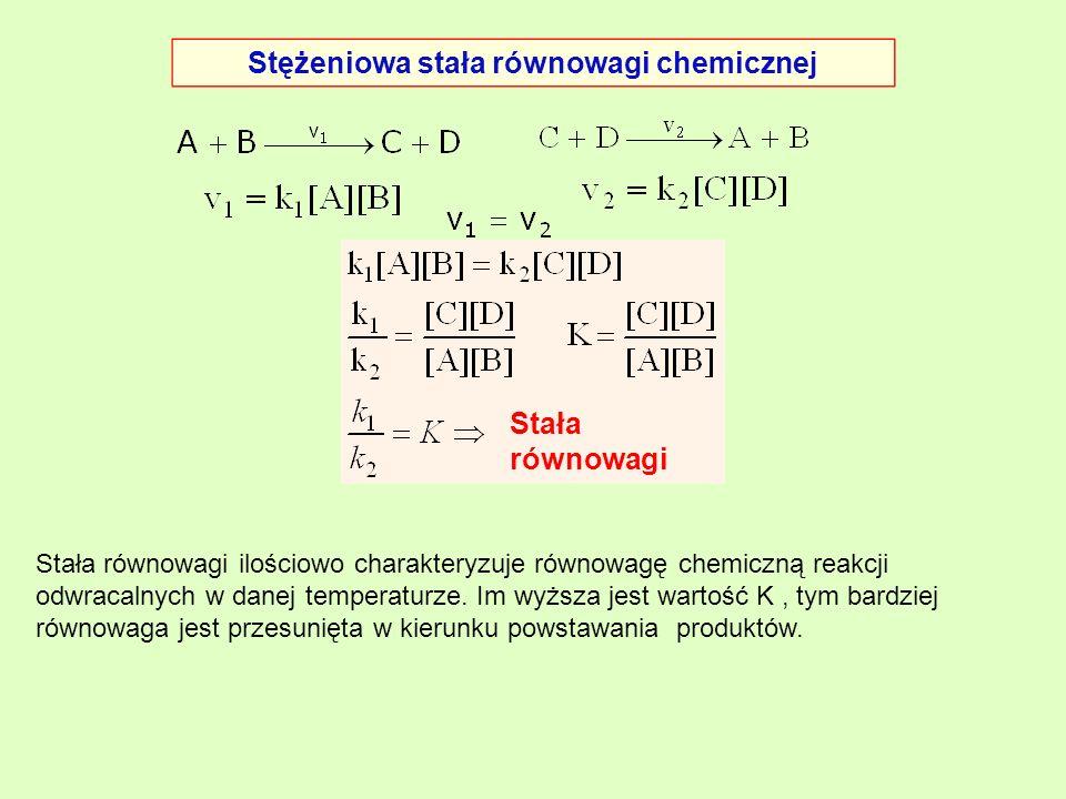 Stężeniowa stała równowagi chemicznej Stała równowagi Stała równowagi ilościowo charakteryzuje równowagę chemiczną reakcji odwracalnych w danej temper
