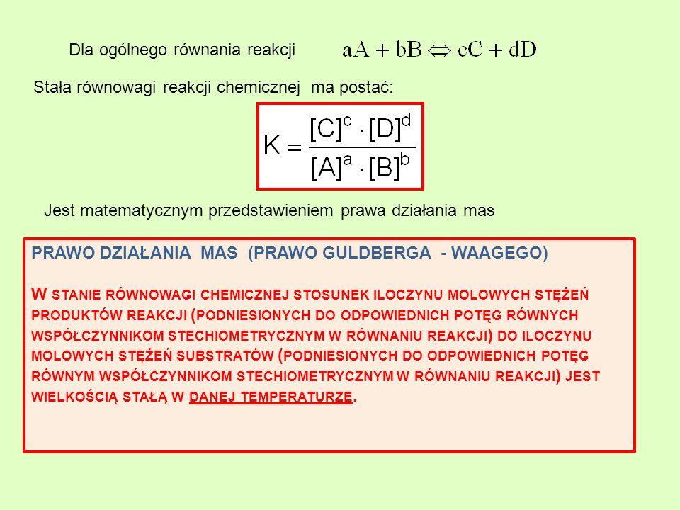 Dla ogólnego równania reakcji Stała równowagi reakcji chemicznej ma postać: Jest matematycznym przedstawieniem prawa działania mas PRAWO DZIAŁANIA MAS