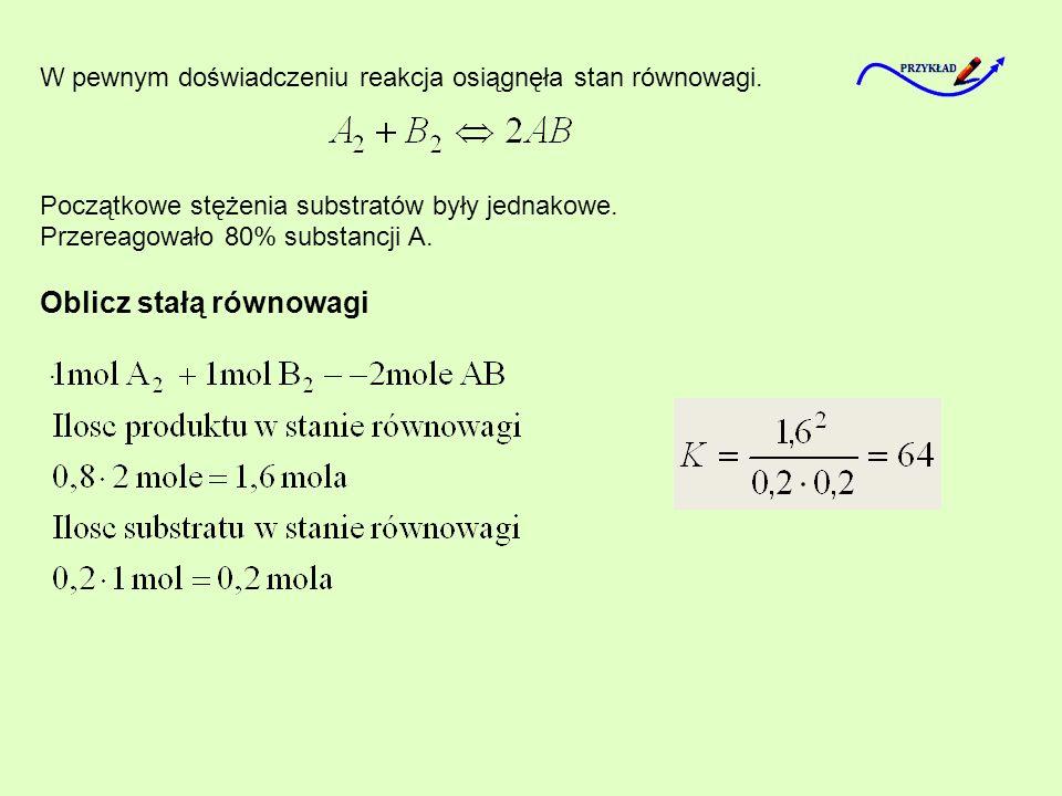 W pewnym doświadczeniu reakcja osiągnęła stan równowagi. Początkowe stężenia substratów były jednakowe. Przereagowało 80% substancji A. Oblicz stałą r