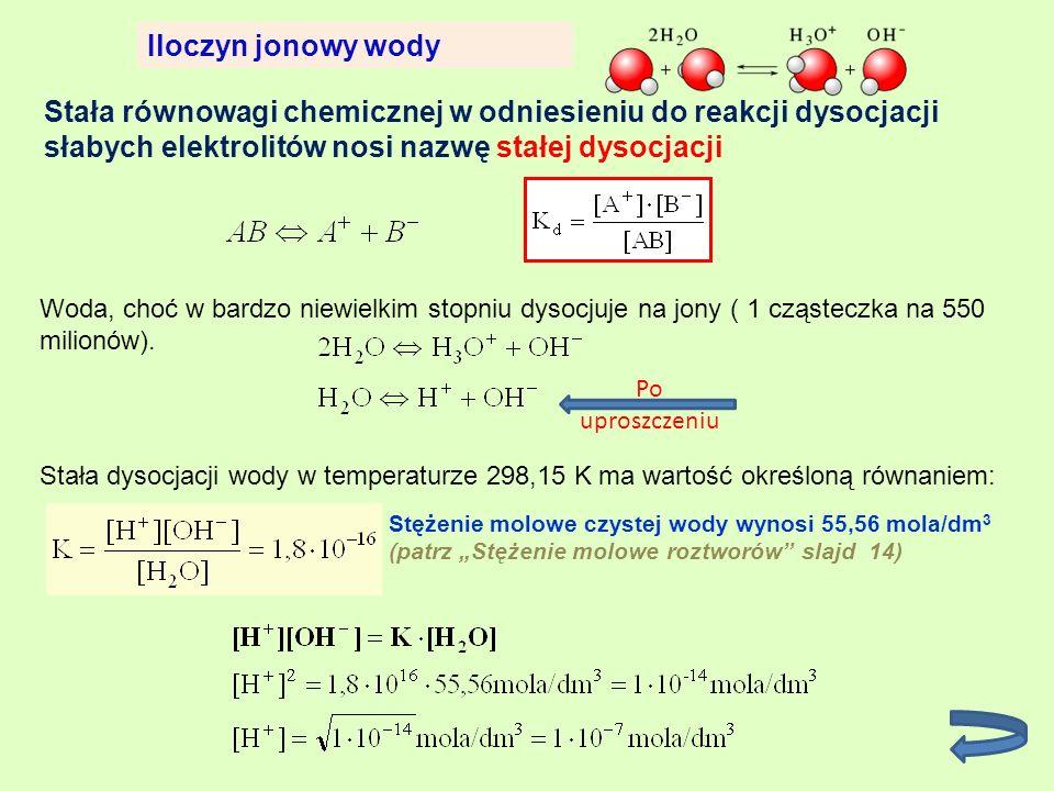 Stała równowagi chemicznej w odniesieniu do reakcji dysocjacji słabych elektrolitów nosi nazwę stałej dysocjacji Iloczyn jonowy wody Woda, choć w bard