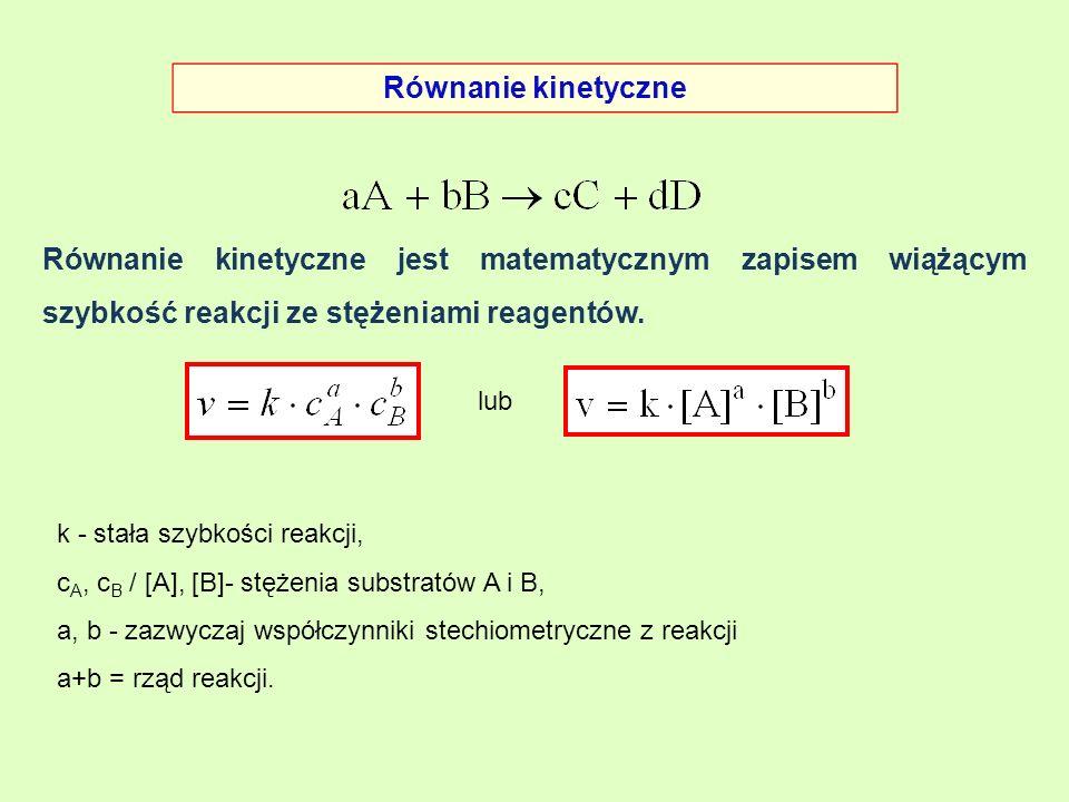 Równanie kinetyczne Równanie kinetyczne jest matematycznym zapisem wiążącym szybkość reakcji ze stężeniami reagentów. k - stała szybkości reakcji, c A