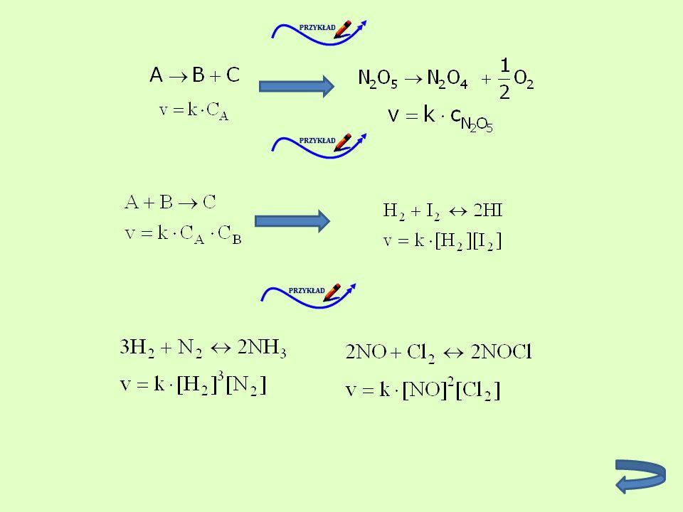 Reakcja odwracalna może być wyrażona poprzez dwa równania: Stan równowagi chemicznej Jeśli w określonych warunkach temperatury, ciśnienia i stężenia reagentów szybkości reakcji prostej i odwrotnej wyrównają się, to w układzie ustali się stan równowagi.