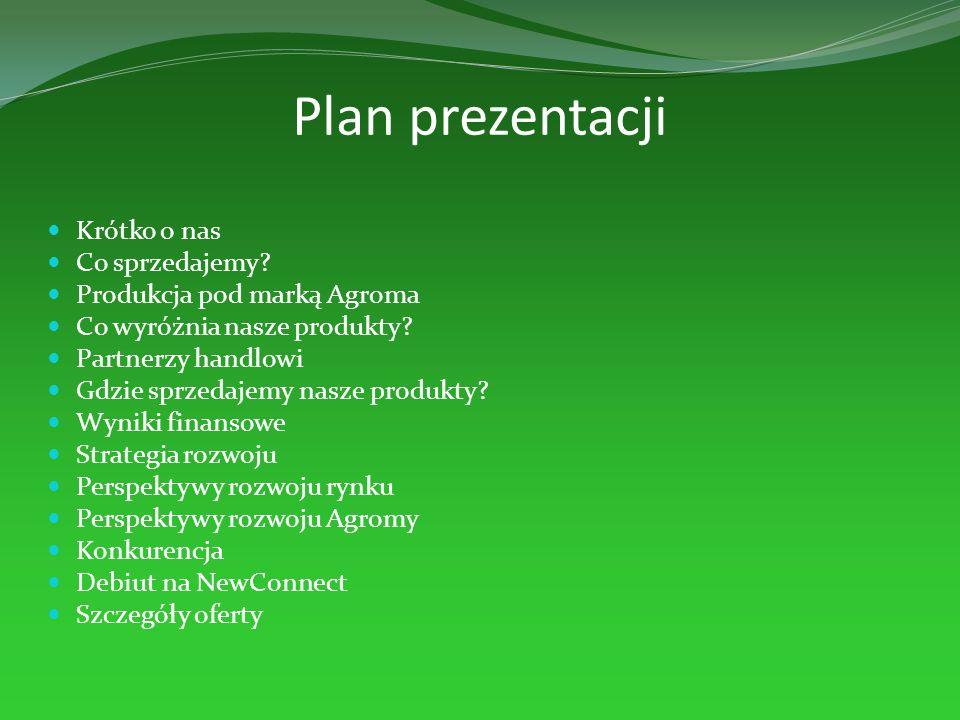 Plan prezentacji Krótko o nas Co sprzedajemy? Produkcja pod marką Agroma Co wyróżnia nasze produkty? Partnerzy handlowi Gdzie sprzedajemy nasze produk