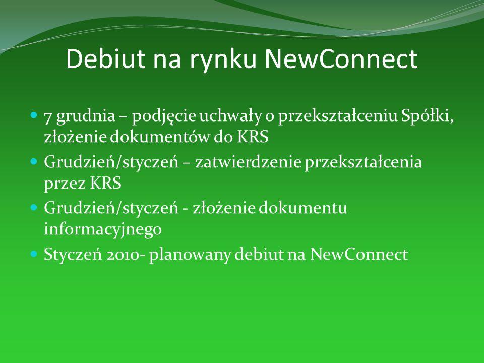 Debiut na rynku NewConnect 7 grudnia – podjęcie uchwały o przekształceniu Spółki, złożenie dokumentów do KRS Grudzień/styczeń – zatwierdzenie przekszt