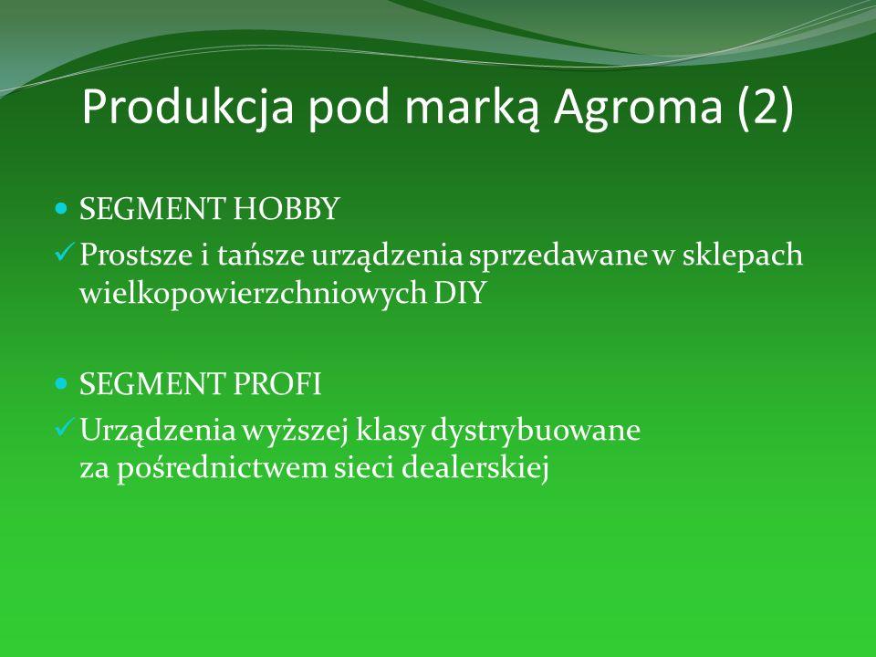 Produkcja pod marką Agroma (2) SEGMENT HOBBY Prostsze i tańsze urządzenia sprzedawane w sklepach wielkopowierzchniowych DIY SEGMENT PROFI Urządzenia w