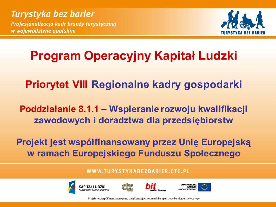 Program Operacyjny Kapitał Ludzki Priorytet VIII Regionalne kadry gospodarki Poddziałanie 8.1.1 – Wspieranie rozwoju kwalifikacji zawodowych i doradztwa dla przedsiębiorstw Projekt jest współfinansowany przez Unię Europejską w ramach Europejskiego Funduszu Społecznego