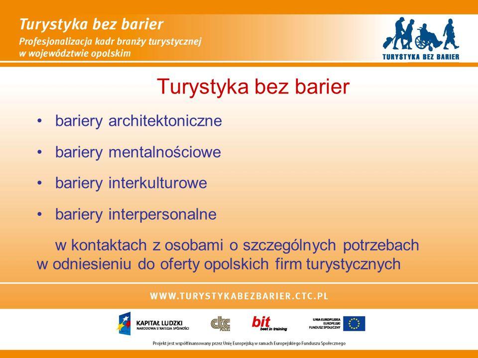 Turystyka bez barier bariery architektoniczne bariery mentalnościowe bariery interkulturowe bariery interpersonalne w kontaktach z osobami o szczególnych potrzebach w odniesieniu do oferty opolskich firm turystycznych
