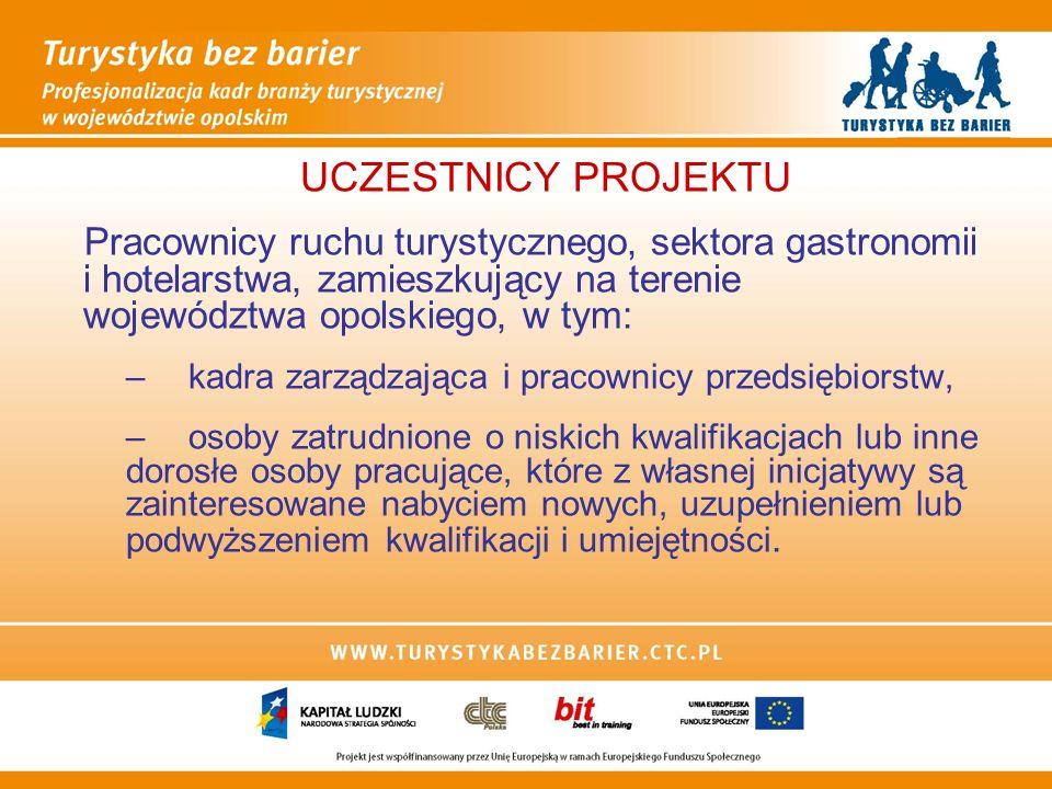 WSPARCIE DLA KADR ZARZĄDZAJĄCYCH I PRACOWNIKÓW FIRM Z BRANŻY TURYSTYCZNEJ Szkolenie związane z obsługą osób niepełnosprawnych realizowane w formie 5-ciodniowej wizyty studyjnej w Austrii identyfikowanie i pokonywanie barier związanych z obsługą osób niepełnosprawnych korzystających z usług firm turystycznych, definiowanie potrzeb tych osób w zakresie turystyki, poznanie najlepszych praktyk i austriackich projektów realizowanych w ramach środków Europejskiego Funduszu Społecznego w obszarze turystyki bez barier
