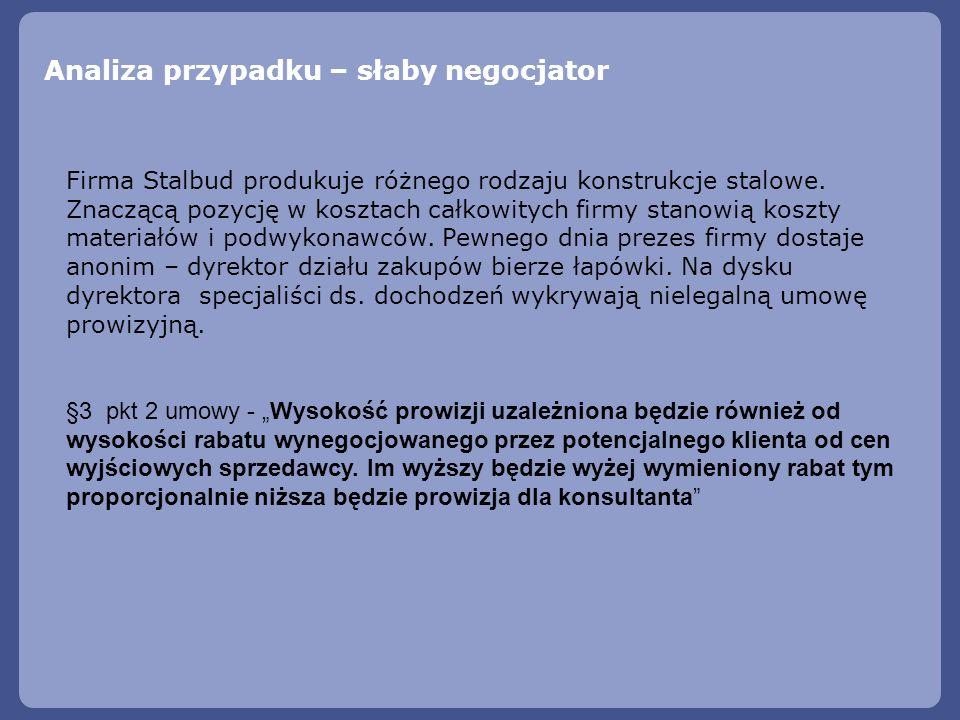 Analiza przypadku – słaby negocjator Firma Stalbud produkuje różnego rodzaju konstrukcje stalowe. Znaczącą pozycję w kosztach całkowitych firmy stanow