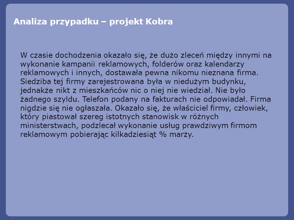Analiza przypadku – projekt Kobra W czasie dochodzenia okazało się, że dużo zleceń między innymi na wykonanie kampanii reklamowych, folderów oraz kale