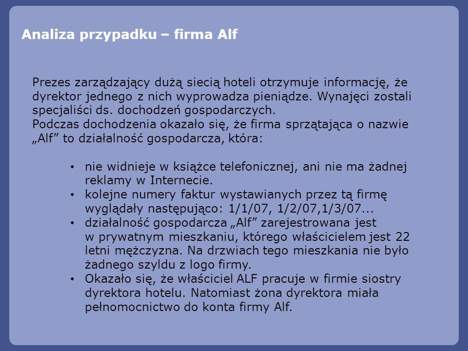 Analiza przypadku – firma Alf Prezes zarządzający dużą siecią hoteli otrzymuje informację, że dyrektor jednego z nich wyprowadza pieniądze. Wynajęci z