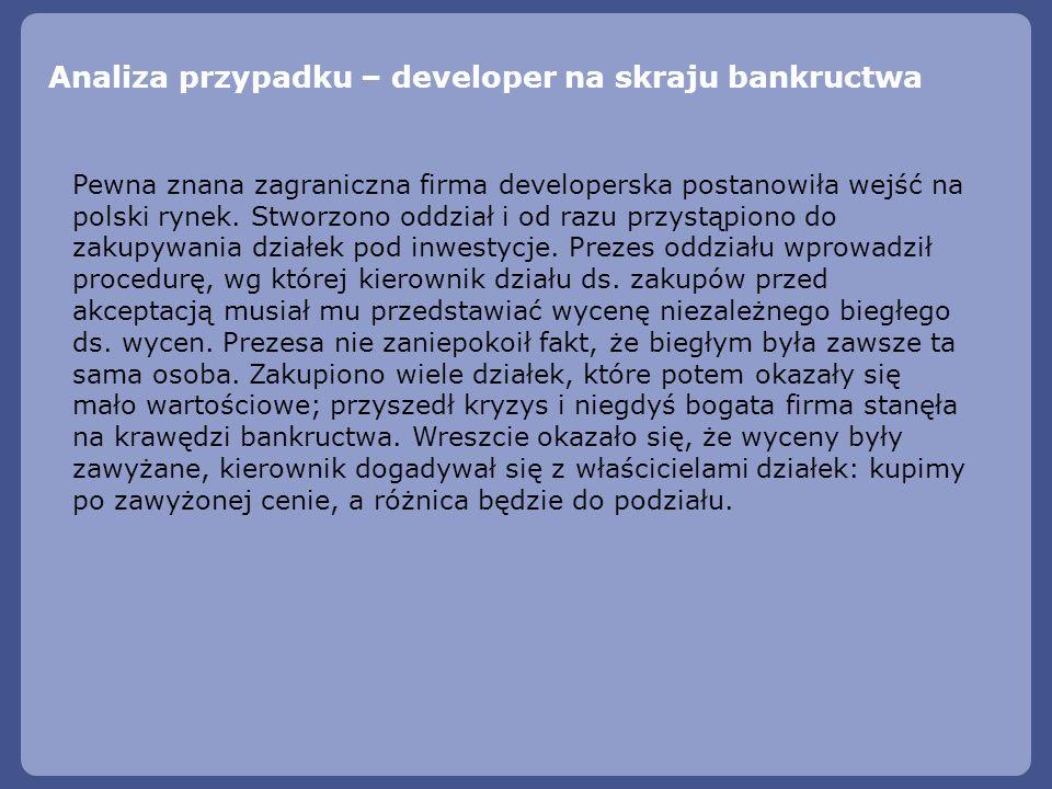 Analiza przypadku – developer na skraju bankructwa Pewna znana zagraniczna firma developerska postanowiła wejść na polski rynek. Stworzono oddział i o