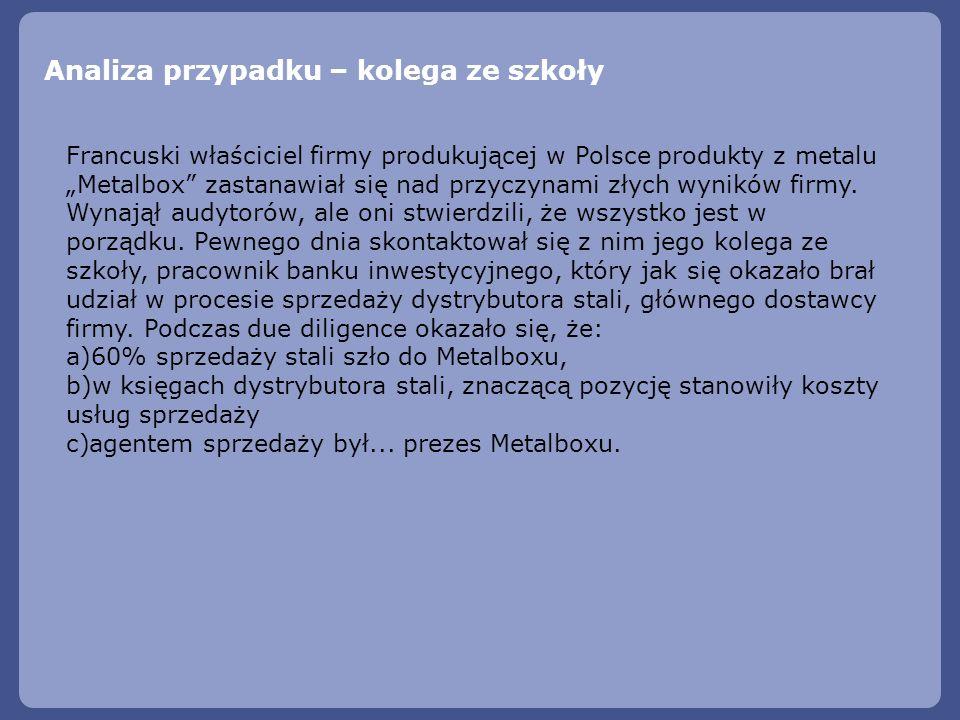 Analiza przypadku – kolega ze szkoły Francuski właściciel firmy produkującej w Polsce produkty z metalu Metalbox zastanawiał się nad przyczynami złych