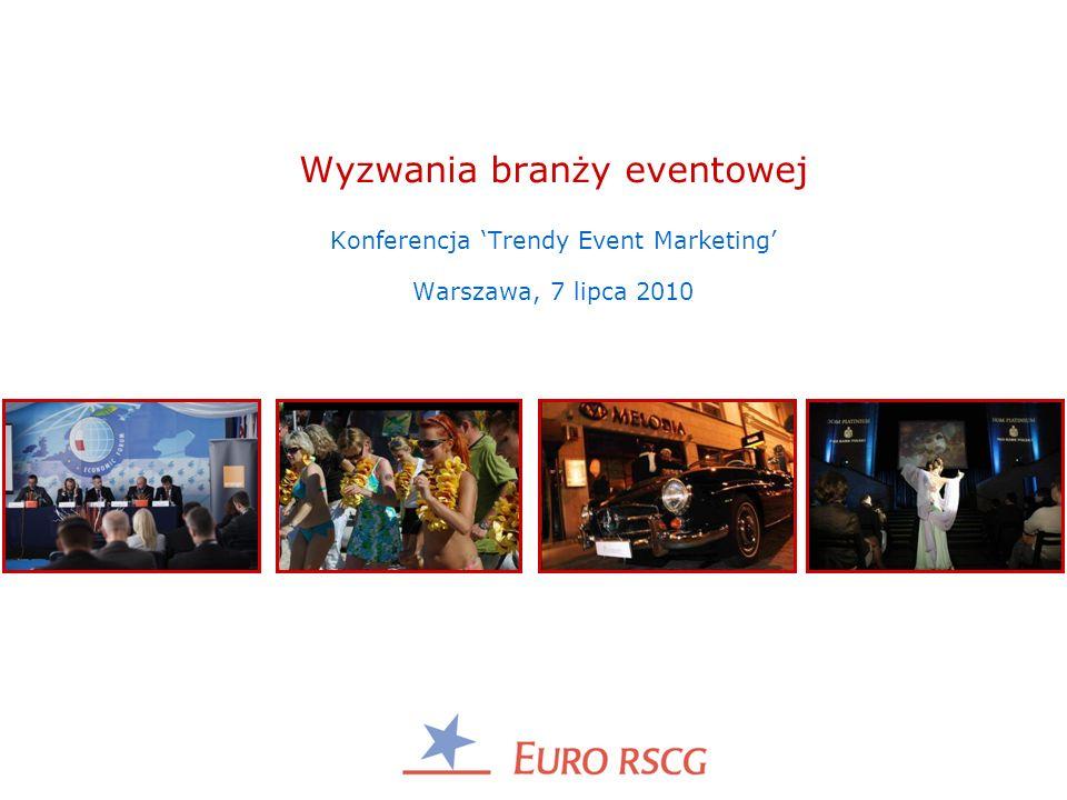Wyzwania branży eventowej Konferencja Trendy Event Marketing Warszawa, 7 lipca 2010