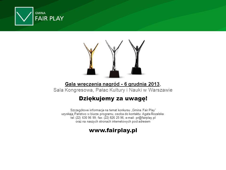 Szczegółowe informacje na temat konkursu Gmina Fair Play uzyskają Państwo w biurze programu, osoba do kontaktu: Agata Rozalska: tel: (22) 630 96 99; f