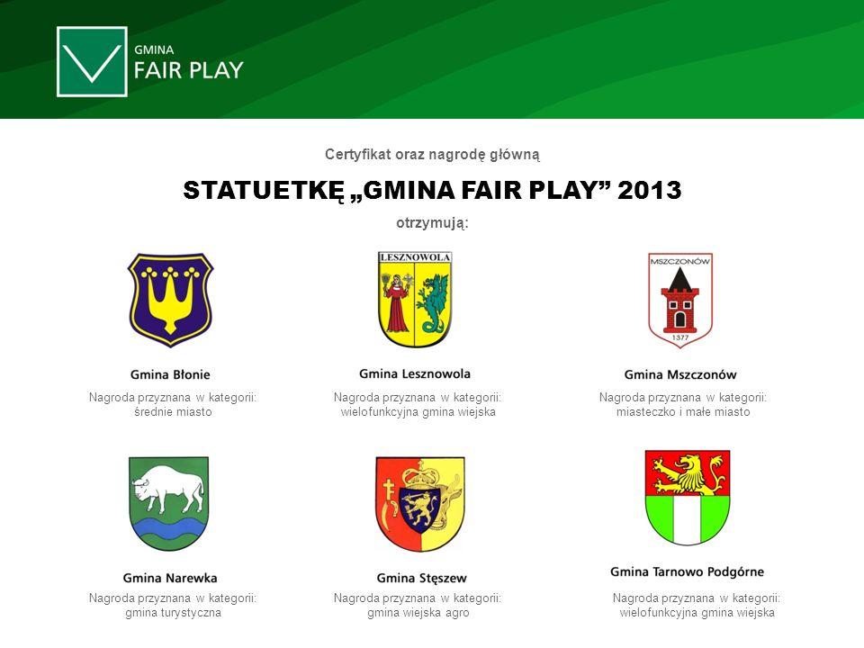 Certyfikat oraz nagrodę główną STATUETKĘ GMINA FAIR PLAY 2013 otrzymują: Nagroda przyznana w kategorii: średnie miasto Nagroda przyznana w kategorii: