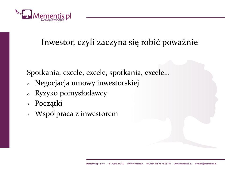 Spotkania, excele, excele, spotkania, excele... Negocjacja umowy inwestorskiej Ryzyko pomysłodawcy Początki Współpraca z inwestorem Inwestor, czyli za