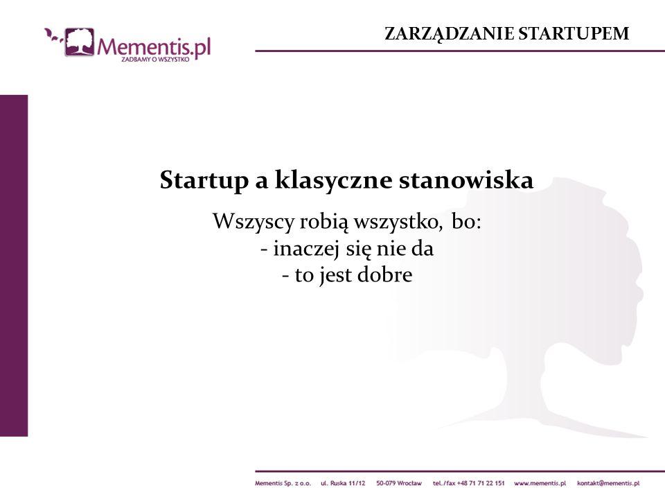 ZARZĄDZANIE STARTUPEM Startup a klasyczne stanowiska Wszyscy robią wszystko, bo: - inaczej się nie da - to jest dobre