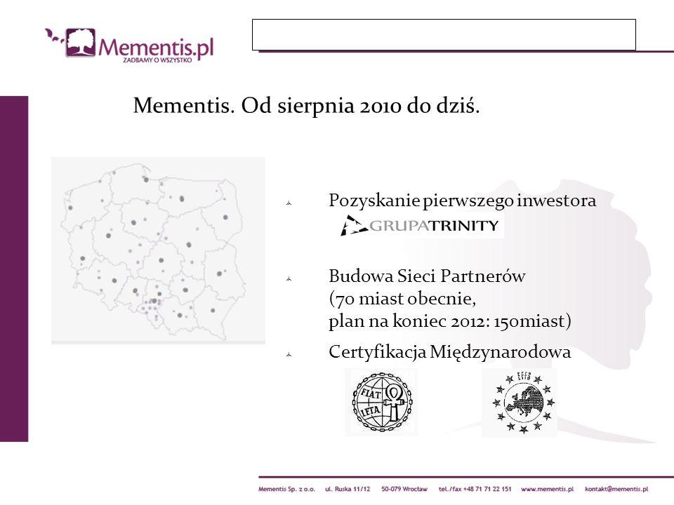 Mementis. Od sierpnia 2010 do dziś. Pozyskanie pierwszego inwestora Budowa Sieci Partnerów (70 miast obecnie, plan na koniec 2012: 150miast) Certyfika