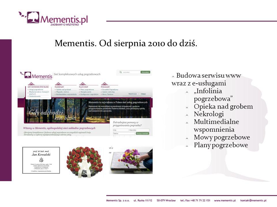 Mementis. Od sierpnia 2010 do dziś. Budowa serwisu www wraz z e-usługami Infolinia pogrzebowa Opieka nad grobem Nekrologi Multimedialne wspomnienia Mo