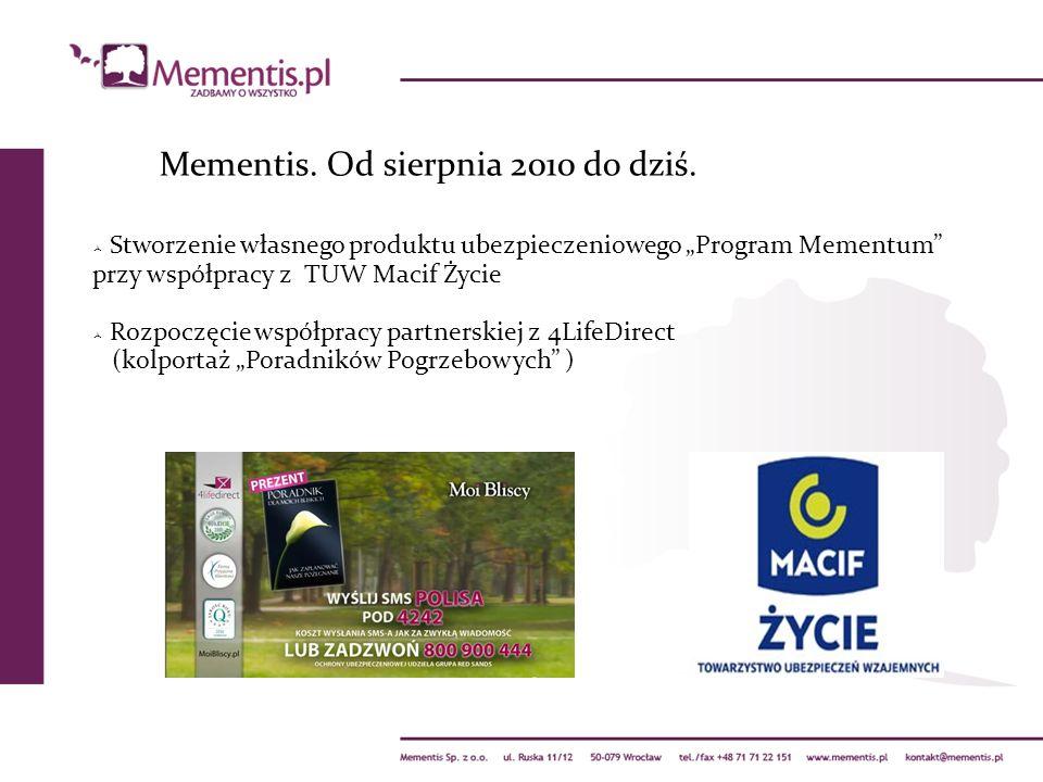 Mementis. Od sierpnia 2010 do dziś. Stworzenie własnego produktu ubezpieczeniowego Program Mementum przy współpracy z TUW Macif Życie Rozpoczęcie wspó