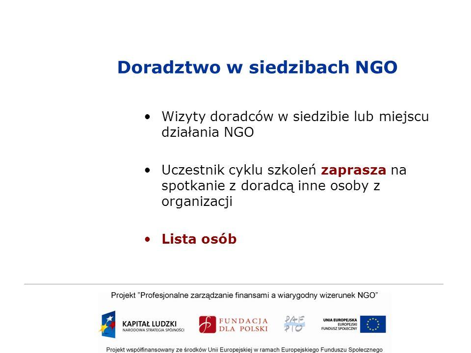 Doradztwo w siedzibach NGO Wizyty doradców w siedzibie lub miejscu działania NGO Uczestnik cyklu szkoleń zaprasza na spotkanie z doradcą inne osoby z