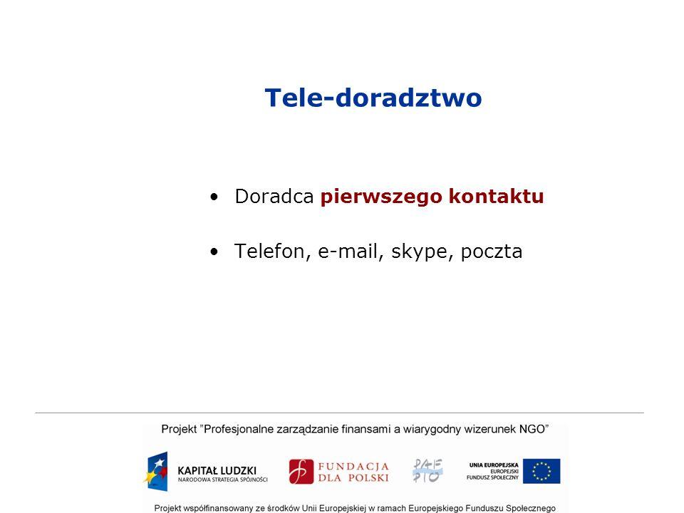 Tele-doradztwo Doradca pierwszego kontaktu Telefon, e-mail, skype, poczta