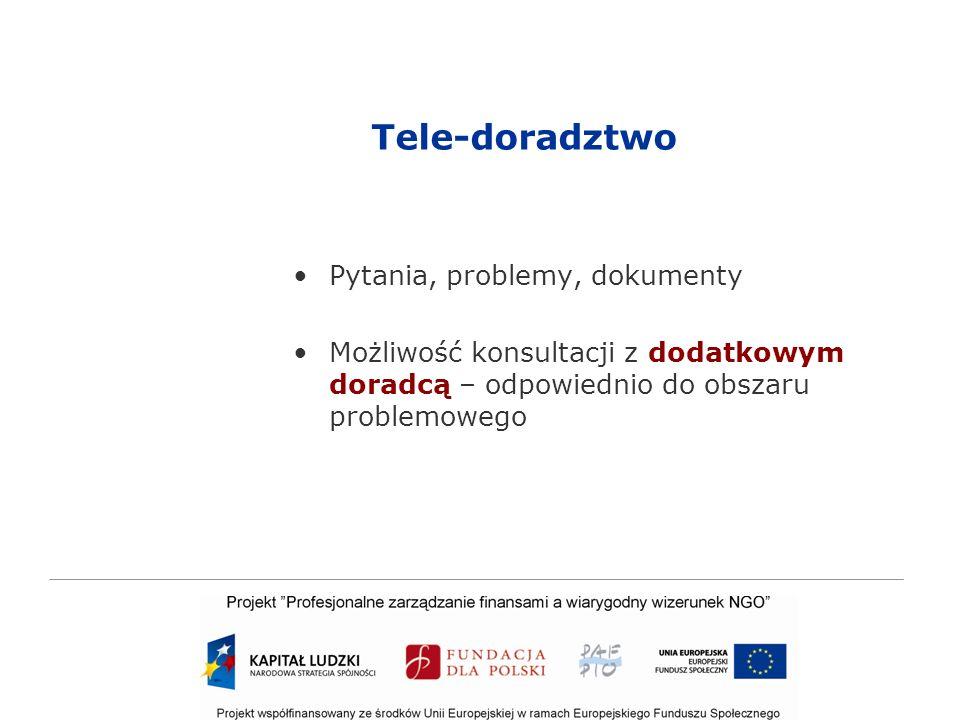 Tele-doradztwo Pytania, problemy, dokumenty Możliwość konsultacji z dodatkowym doradcą – odpowiednio do obszaru problemowego