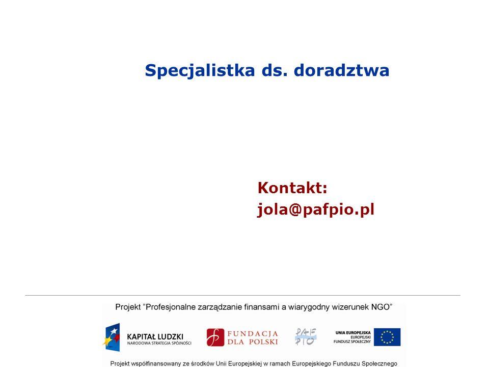 Specjalistka ds. doradztwa Kontakt: jola@pafpio.pl
