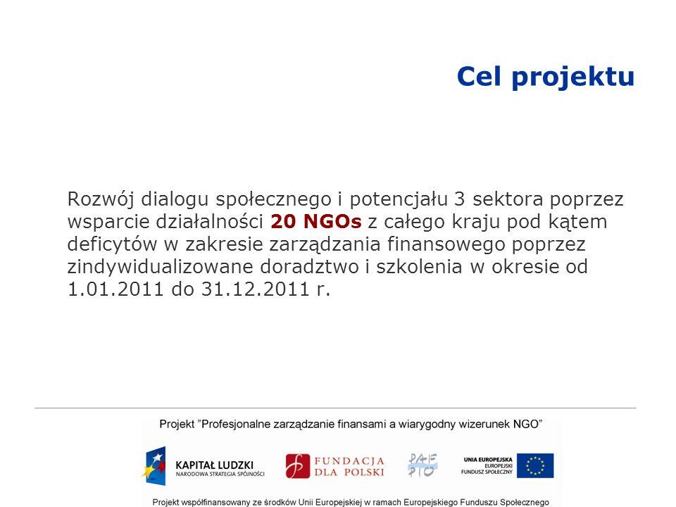 Cel projektu Rozwój dialogu społecznego i potencjału 3 sektora poprzez wsparcie działalności 20 NGOs z całego kraju pod kątem deficytów w zakresie zarządzania finansowego poprzez zindywidualizowane doradztwo i szkolenia w okresie od 1.01.2011 do 31.12.2011 r.