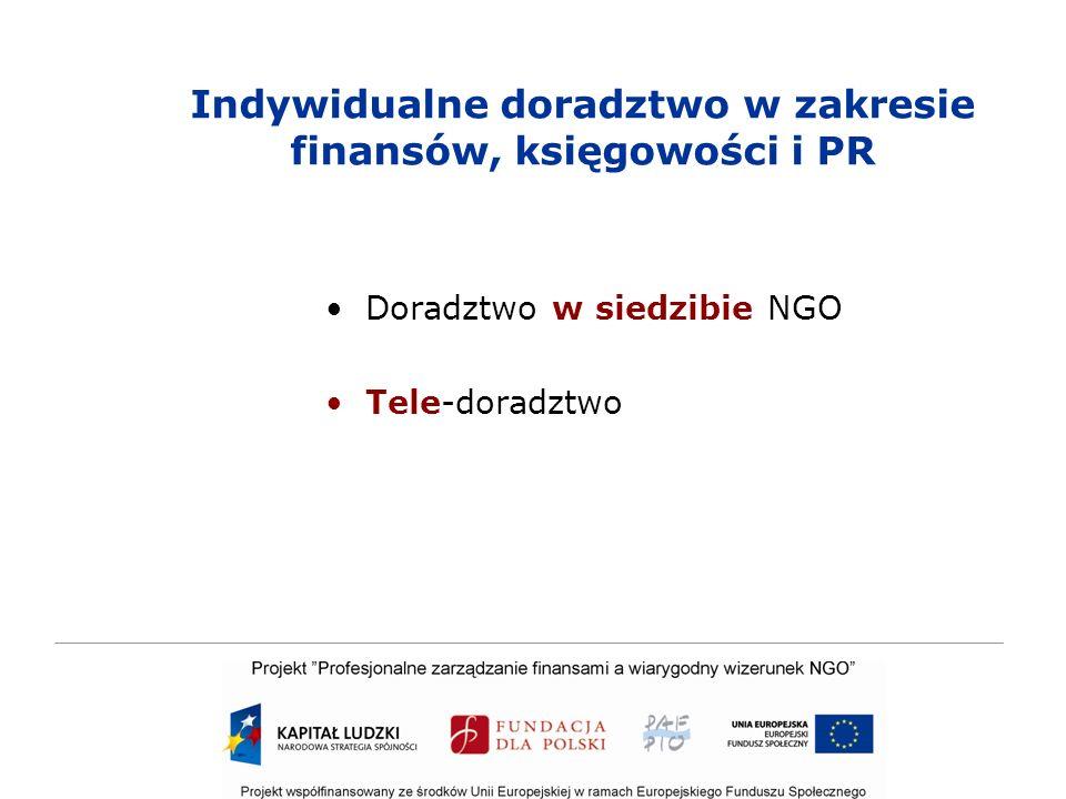 Indywidualne doradztwo w zakresie finansów, księgowości i PR Doradztwo w siedzibie NGO Tele-doradztwo