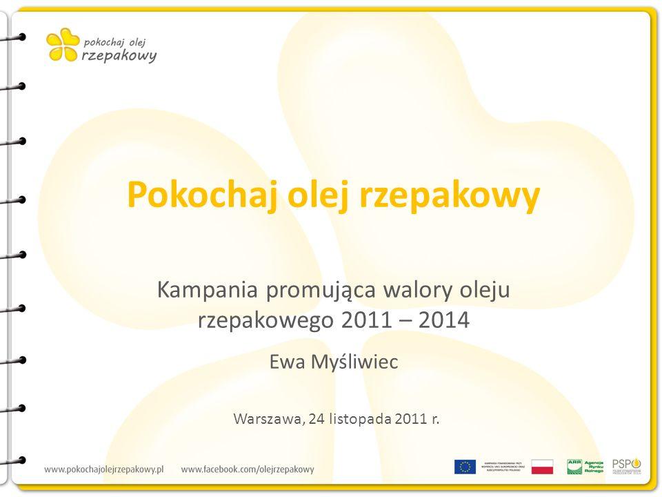 Założenia kampanii Kampania edukacyjno-informacyjna promująca walory zdrowotne i kulinarne oleju rzepakowego Rynki: polski i łotewski Czas trwania: 3 lata Budżet: 1,65 mln Euro netto