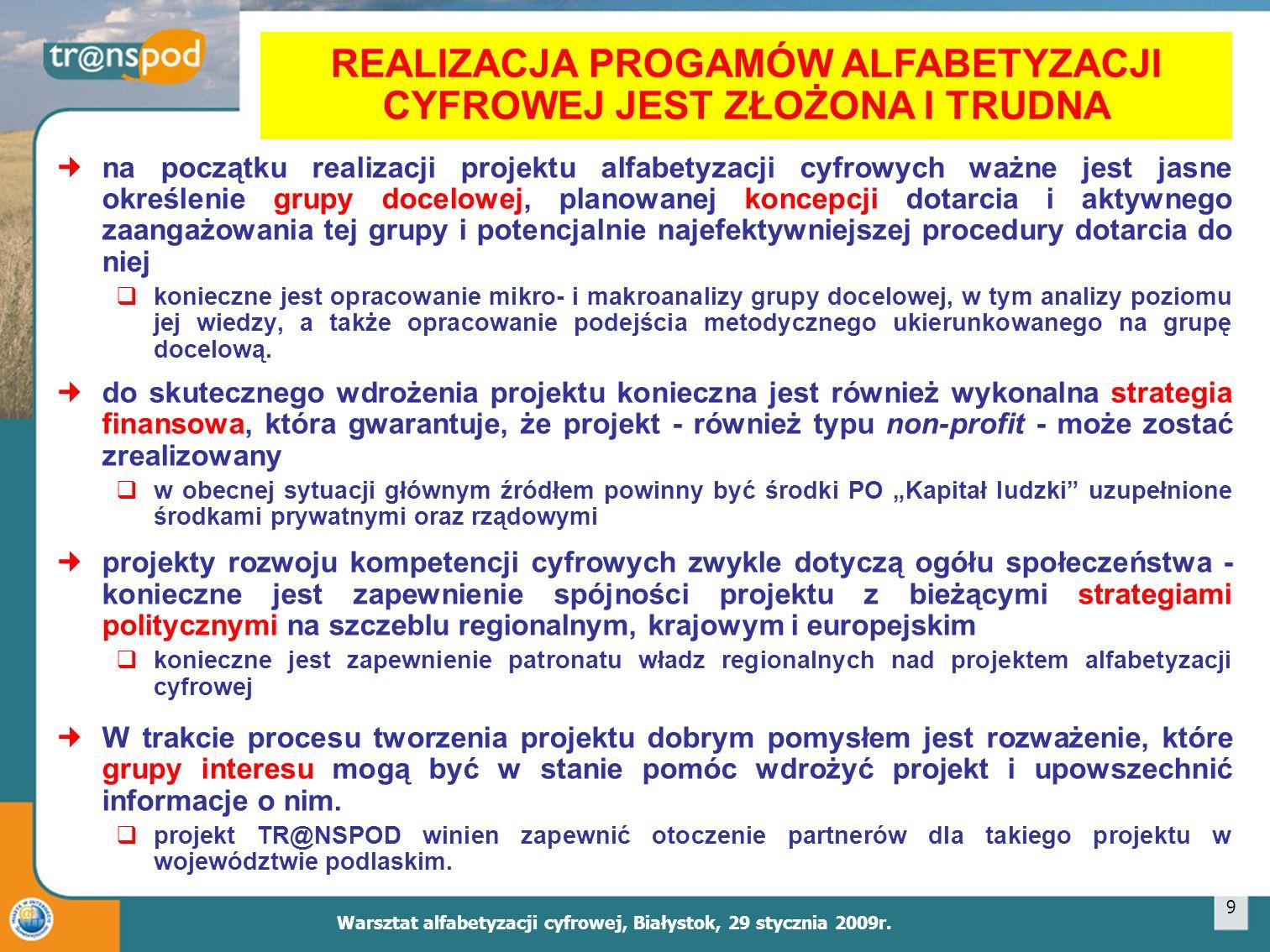 Warsztat alfabetyzacji cyfrowej, Białystok, 29 stycznia 2009r.