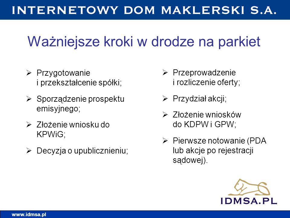 Ważniejsze kroki w drodze na parkiet Przygotowanie i przekształcenie spółki; Sporządzenie prospektu emisyjnego; Złożenie wniosku do KPWiG; Decyzja o u