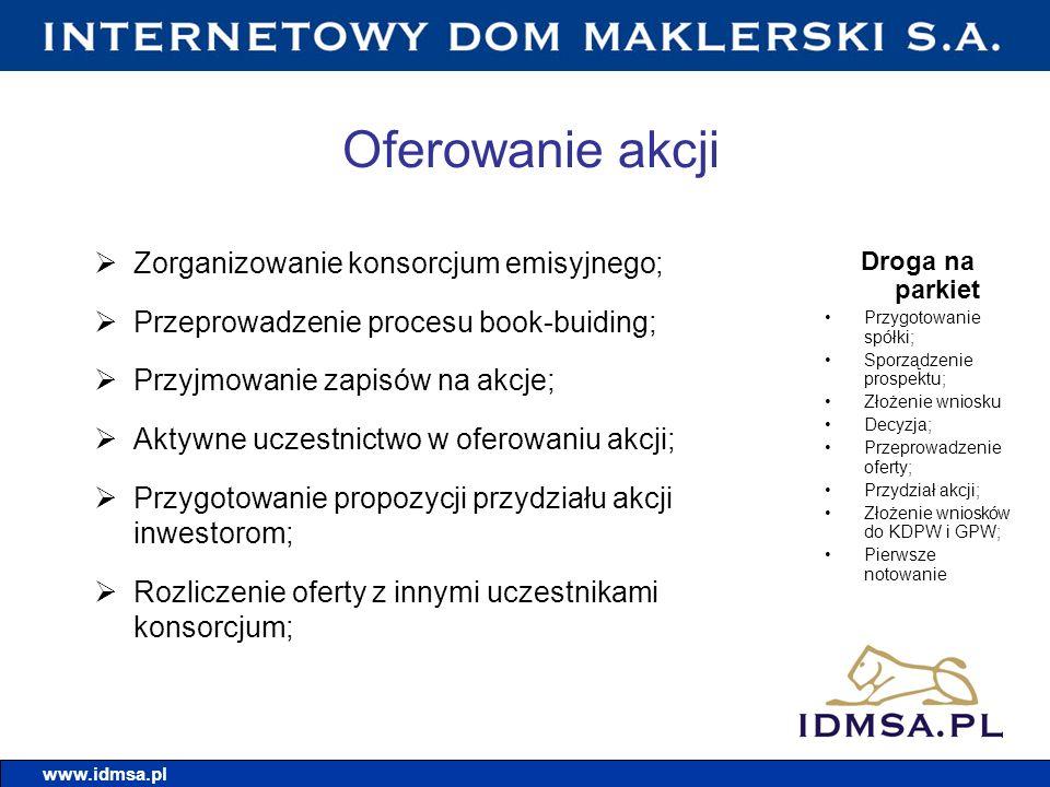Model działania IDMSA.PL Wstępny audyt spółki; Podpisanie umowy; Pełnienie funkcji menedżera projektu; Dobór właściwych partnerów do realizacji procesu upublicznienia; Ofensywne podejście do oferowania; Udział w promocji; Wsparcie dla spółki na każdym etapie; Opieka nad spółką na giełdzie.