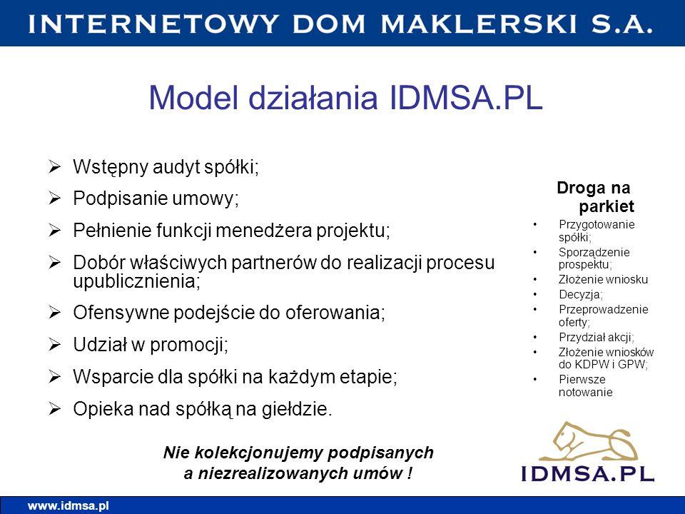 Model działania IDMSA.PL Wstępny audyt spółki; Podpisanie umowy; Pełnienie funkcji menedżera projektu; Dobór właściwych partnerów do realizacji proces