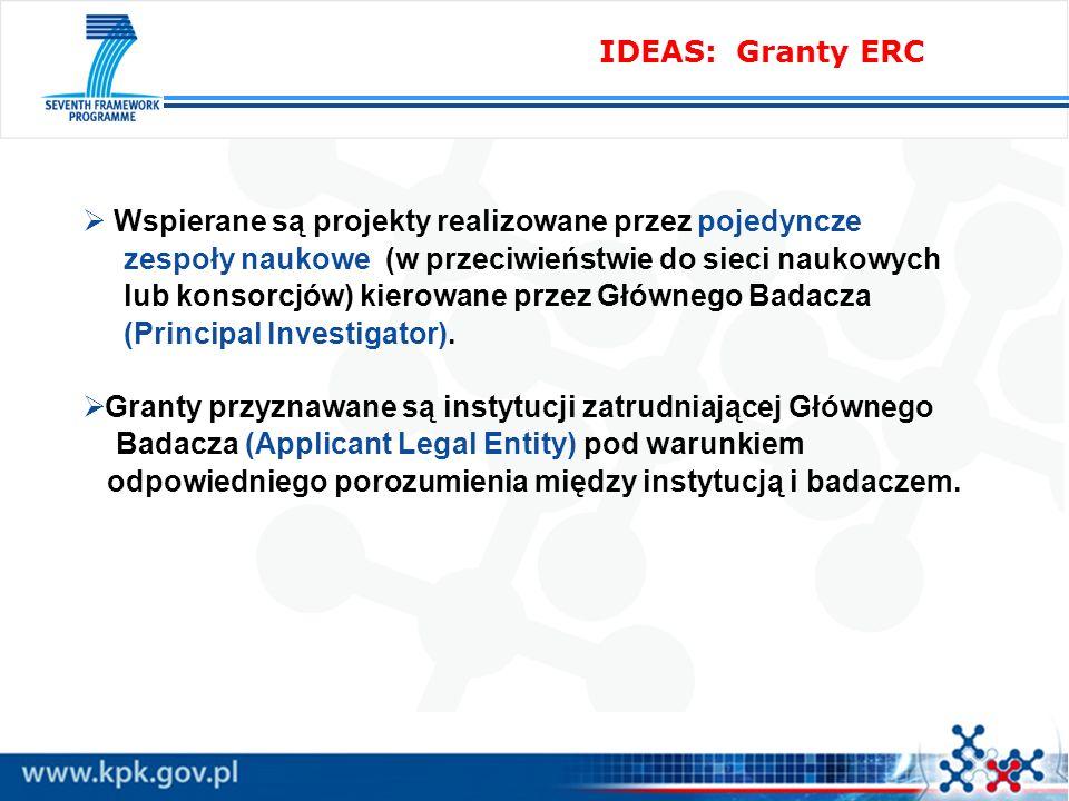 IDEAS: Granty ERC Wspierane są projekty realizowane przez pojedyncze zespoły naukowe (w przeciwieństwie do sieci naukowych lub konsorcjów) kierowane przez Głównego Badacza (Principal Investigator).