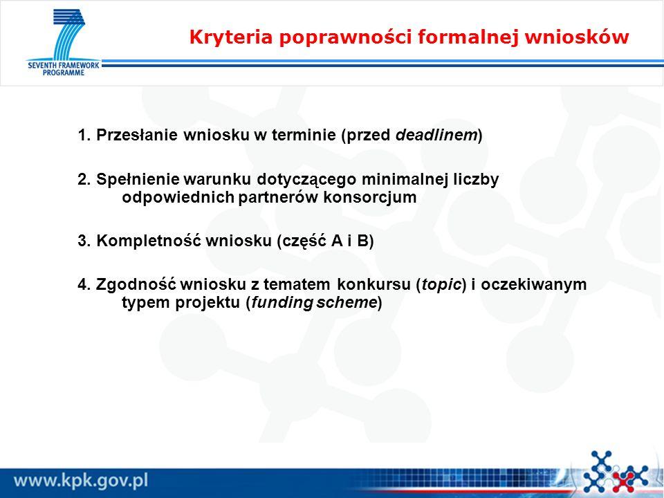 1. Przesłanie wniosku w terminie (przed deadlinem) 2. Spełnienie warunku dotyczącego minimalnej liczby odpowiednich partnerów konsorcjum 3. Kompletnoś