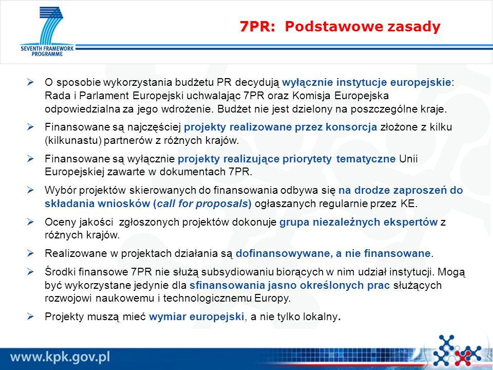 7PR: 7PR: Podstawowe zasady O sposobie wykorzystania budżetu PR decydują wyłącznie instytucje europejskie: Rada i Parlament Europejski uchwalając 7PR