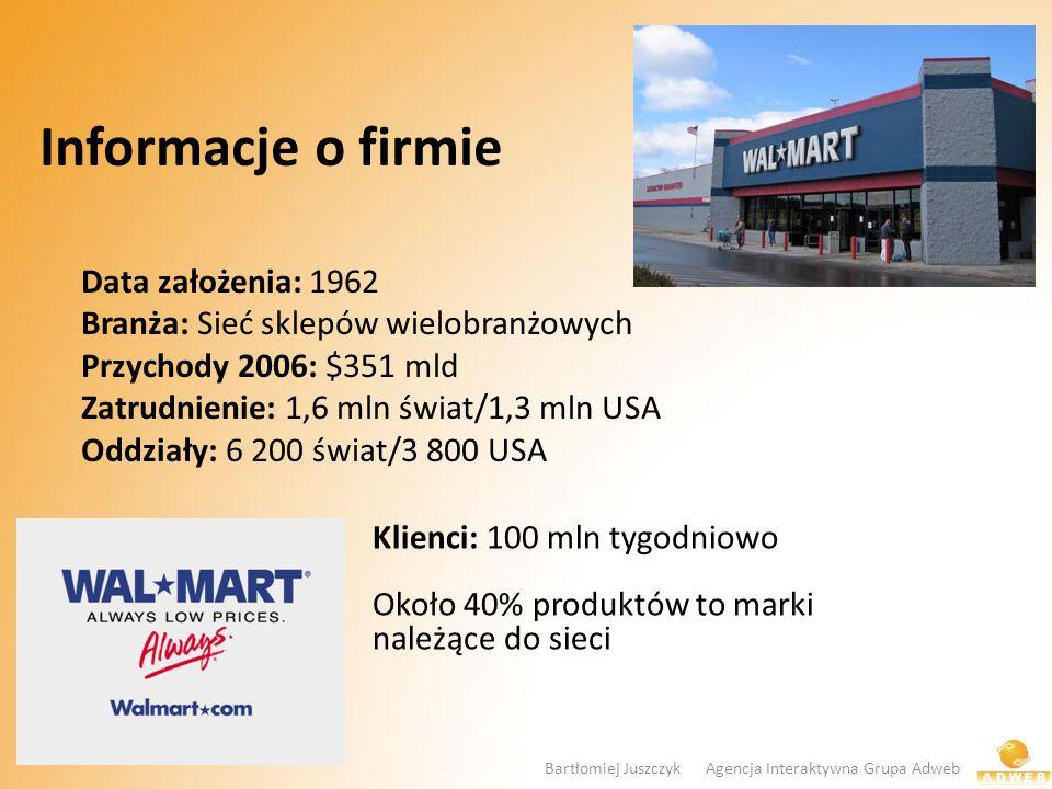 Informacje o firmie Data założenia: 1962 Branża: Sieć sklepów wielobranżowych Przychody 2006: $351 mld Zatrudnienie: 1,6 mln świat/1,3 mln USA Oddział