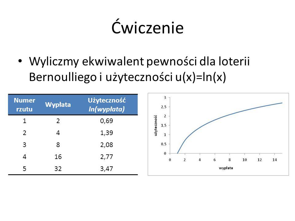 Ćwiczenie Wyliczmy ekwiwalent pewności dla loterii Bernoulliego i użyteczności u(x)=ln(x) Numer rzutu Wypłata Użyteczność ln(wypłata) 120,69 241,39 38