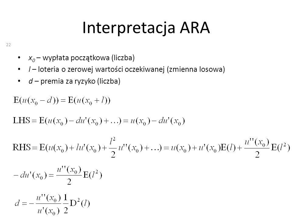 Interpretacja ARA x 0 – wypłata początkowa (liczba) l – loteria o zerowej wartości oczekiwanej (zmienna losowa) d – premia za ryzyko (liczba) 22