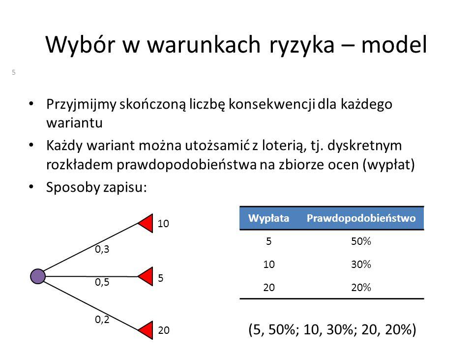 Wybór w warunkach ryzyka – model Przyjmijmy skończoną liczbę konsekwencji dla każdego wariantu Każdy wariant można utożsamić z loterią, tj. dyskretnym